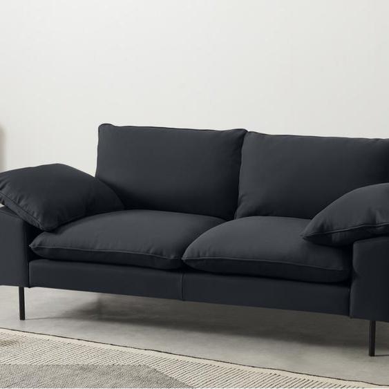 Fallyn grosses 2-Sitzer Sofa, Nubukleder in Karbongrau