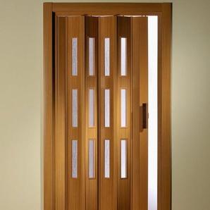 Kunststoff-Falttür , Höhe nach Maß, Buchefarben mit Molato Cristal Fenster