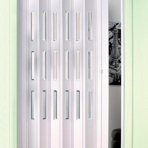 Kunststoff-Falttür , Höhe nach Maß, weiß mit Fenstern im Facettenschliff