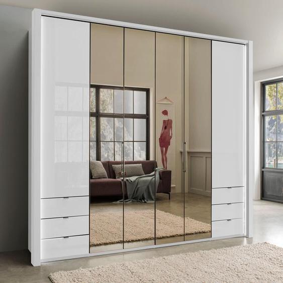 Falttürenschrank  mit Spiegel und Glas, weiß »Kansas«, WIEMANN
