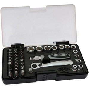 FAMEX Werkzeugset, (45 St.), mit 72-Zahn Mini-Knarre Einheitsgröße schwarz Werkzeugset Werkzeugkoffer Werkzeug Maschinen