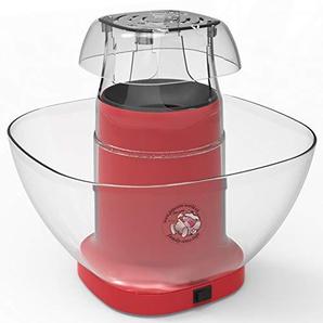 Family Time - Popcorn-Automat mit Airpop ohne Fett + Behälter + Messbecher + Probebeutel süsser Mais für 16 Liter Popcorn … (rot)