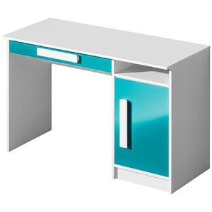 Feldmann-Wohnen Schreibtisch »GULIVER« (PC-Tisch, Computertisch), in Türkis-Weiß