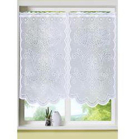 Fenster- und Türbehang mit ausdrucksstarkem Dessin, Größe 309 (Fensterbehang, 2er-Set, H80xB40 cm), Weiss