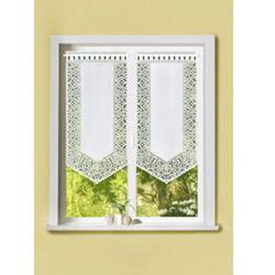 Fenster- und Türbehang mit Dreiecksabschluss, Größe 309 (2x Fensterbehang, H 80xB40 cm), Weiss