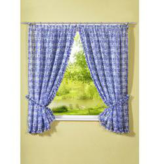 Fensterdekoration in verschiedenen Ausführungen, Größe 320 (Raffgardinen-Garnitur, H100xB 70), Blau