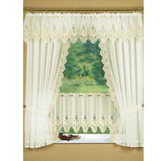 Fensterdekoration in verschiedenen Farben, Größe 781 (Kurzstore, H44xB150 cm), Creme