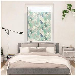 Fensterfolie »Fensterfolie selbstklebend, Sichtschutz, Sloths on turquoise - Grün«, LICHTBLICK ORIGINAL, blickdicht, glatt