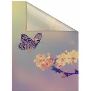 Fensterfolie »Schmetterling Blüte«, LICHTBLICK, blickdicht, strukturiert, selbstklebend, Sichtschutz
