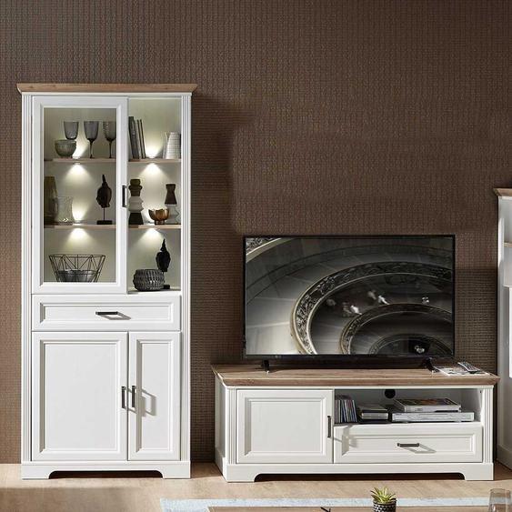 Fernseher Schrankwand in Weiß und Eiche Dekor LED Beleuchtung (2-teilig)