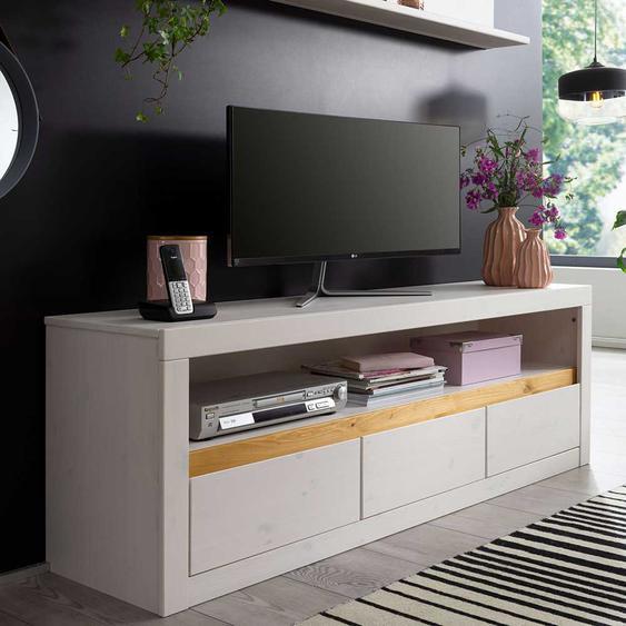 Fernsehmöbel in Weiß und Eichefarben Kiefer Massivholz