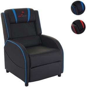 Fernsehsessel HWC-D68, HWC-Racer Relaxsessel TV-Sessel Gaming-Sessel, Kunstleder ~ schwarz/blau
