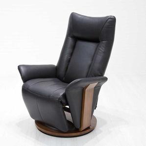 Fernsehsessel in Schwarz und Walnussfarben Relaxfunktion