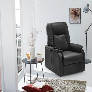 Fernsehsessel in schwarzem Vintage-Stoff bezogen, Liegefunktion und elektrische Aufstehhilfe, Taschenfederkernpolsterung, Maße: B/H/T ca. 73/106/91 cm