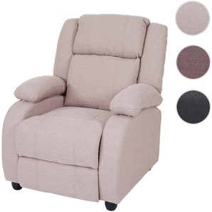 Fernsehsessel Lincoln, Relaxsessel Liege Sessel, Stoff/Textil ~ creme-grau