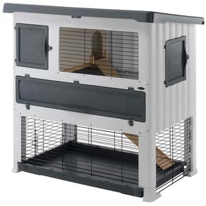 Ferplast 57087800 Hasenstall für Meerschweinchen und Kaninchen auf zwei Ebenen, Maße: 115,5 x 73 x 117 cm, grau