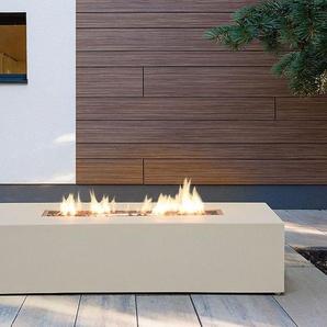 Feuerstelle beige Leichtbeton rechteckig PAVO