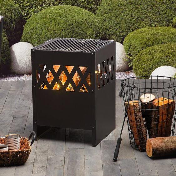 Feuerstelle schwarz Stahl quadratisch SHIGA