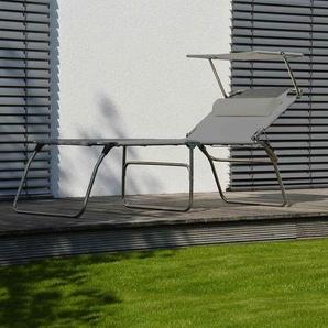 Fiam Amigo 50+ Big Dreibeinliege Aluminium/Textilene mit Sonnendach Silber/Grau