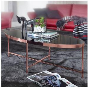 FINEBUY Couchtisch »FB53036«, Design Couchtisch Oval 110 x 56 cm Spiegel Glas Wohnzimmertisch mit Metallgestell in Kupfer Glastisch Wohnzimmer
