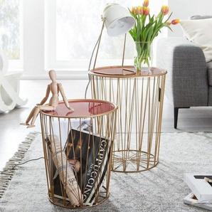 FINEBUY Satztisch »FB23996«, Design Beistelltisch 2er Set Korbtisch Rot / Gold Rund Wohnzimmertisch Modern mit Stauraum Couchtisch Sofatisch 2-teilig mit abnehmbaren Tablett