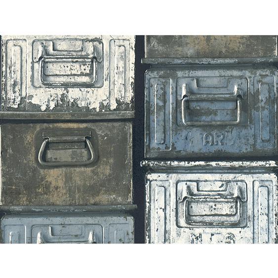 Finest Selection Vliestapete Authentic Wall Metallkisten Blau