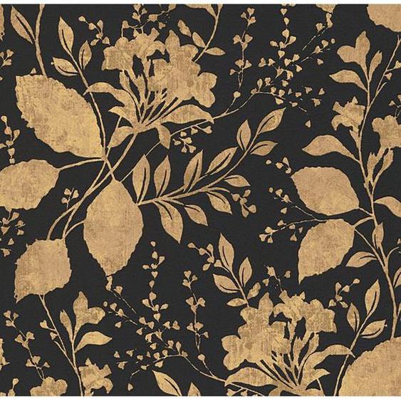 Finest Selection Vliestapete Blumen Gold