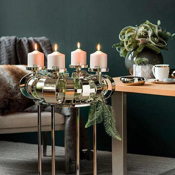 Fink Kerzenständer ANELLO H: 70 cm silberfarben Kerzenhalter Kerzen Laternen Wohnaccessoires
