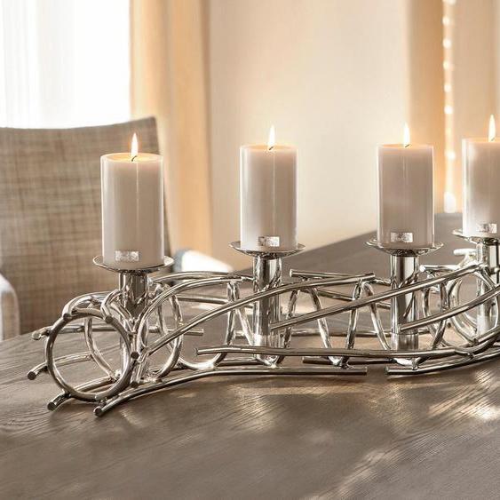Fink Kerzenständer CORONA 86x15x15 cm silberfarben Kerzenhalter Kerzen Laternen Wohnaccessoires