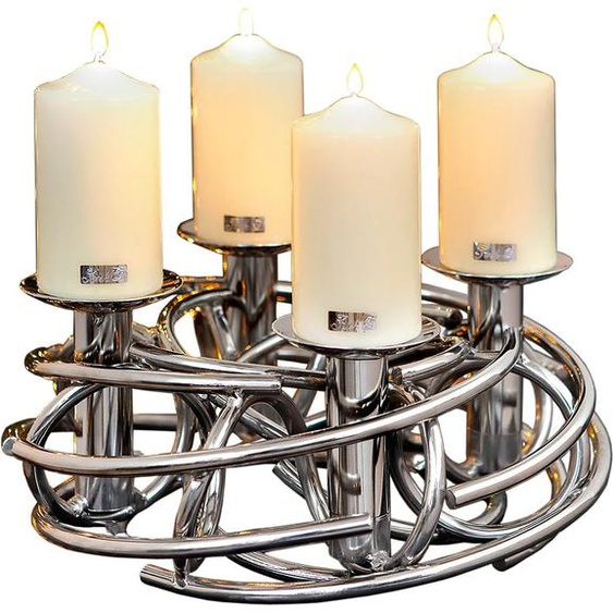 Fink Kerzenständer CORONA, Ø ca. 40 cm H: 19 silberfarben Kerzenhalter Kerzen Laternen Wohnaccessoires