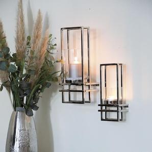 Fink Wandkerzenhalter DUALIS, silberfarben, Kerzen-Wandleuchter, Kerzenhalter, Kerzenleuchter hängend, handgefertigt, aus Metall, inkl. Glaszylinder, 3D-Effekt, in verschiedenen Größen erhältlich, Wohnzimmer B/H/T: 16 cm x 41 15 silberfarben