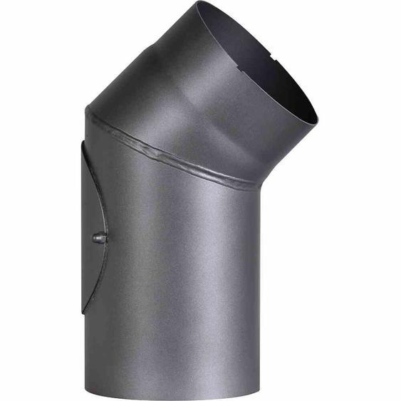FIREFIX RD150/B4 Ofenrohrbog.45°,Ø150mm,gr fest mit Tür, Farbe: grau (1 Stück)