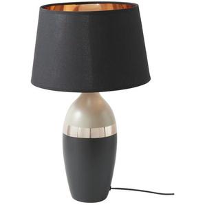 Fischer-Honsel Keramik-Tischleuchte, 1-flammig, grau/goldfarben ¦ schwarz