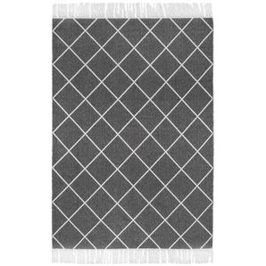 Flachgewebe-Teppich Glitter aus Baumwolle in Anthrazit/Weiß