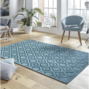 Viskose Teppich Shine Iris in Blau