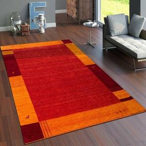 Handgefertigter Teppich Susie aus Wolle in Orange/Rot