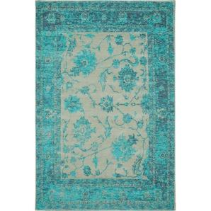 Flachgewebeteppich Frencie Türkis 100x160 cm