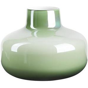 Flaschenvase Glasvase bauchig Perlmuttglanz Pastell Grün 20cm