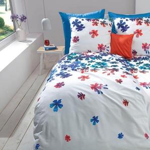 fleuresse Wendebettwäsche Bali, mit Blüten B/L: 155 cm x 200 (1 St.), 80 Seersucker blau Bettwäsche 135x200 nach Größe Bettwäsche, Bettlaken und Betttücher
