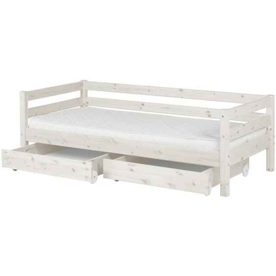 FLEXA Bett mit 2 Schubladen 90x200 - weiß - Kiefer Flexa Classic ¦ weiß ¦ Maße (cm): B: 100 H: 67