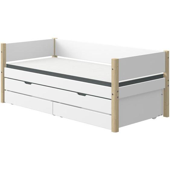 FLEXA Bett mit Ausziehbett und 2 Schubkästen  Flexa White ¦ weiß ¦ Maße (cm): B: 101 H: 81