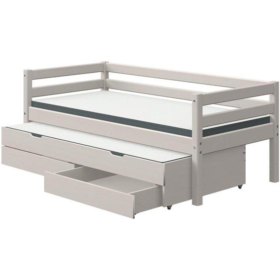 FLEXA Bett mit Ausziehbett und Schubladen  Flexa Classic ¦ grau ¦ Maße (cm): B: 100 H: 81