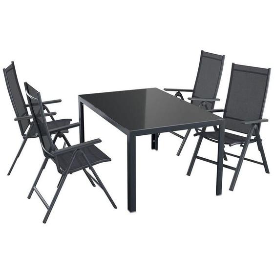FLORABEST® Alu-Gartenmöbelset »Houston«, mit Standardtisch & Klappsessel, 5-teilig, schwarz