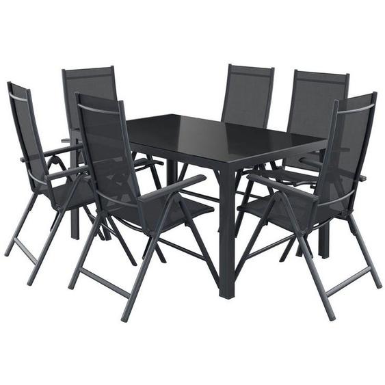 FLORABEST® Alu-Gartenmöbelset »Houston«, mit Standardtisch & Klappsessel, 7-teilig, schwarz