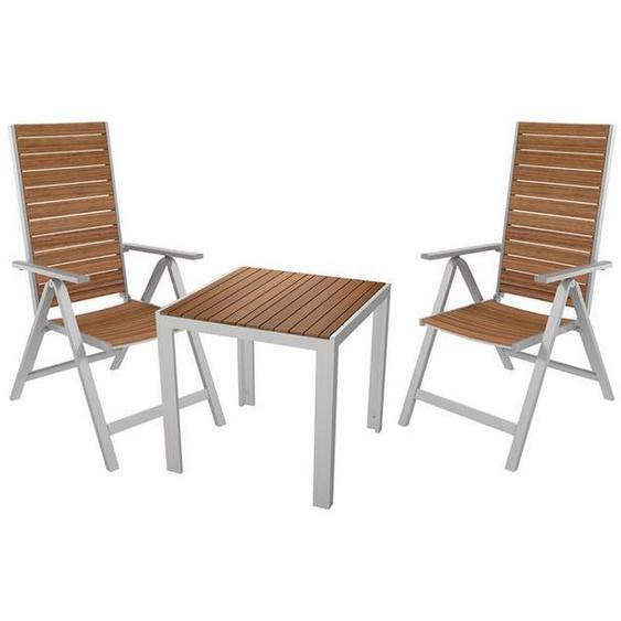 FLORABEST® Alu/Holz-Set »Buenos Aires«, 3-teilig - Gartentisch 75 x 75 cm und 2 Hochlehner