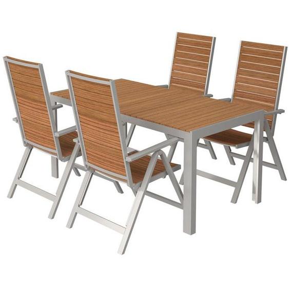 FLORABEST® Alu/Holz-Set »Buenos Aires«, 5-teilig - Standardtisch und 4 Hochlehner