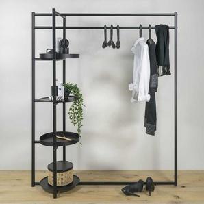 Flur Garderobe in Schwarz Stahl