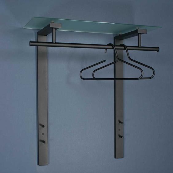 Flur H�ngegarderobe aus Stahl in Schwarz Glas Hutablage