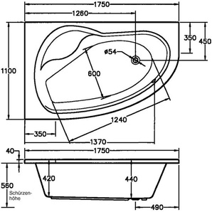 FOND Eckwanne »Loredana«, B/T/H in cm: 175/110/56, Whirlpool-System Premium