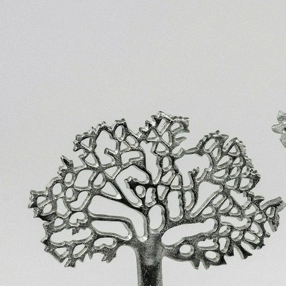 Formano Lebensbaum Aluminium Mangoholz Silber Dekoobjekt Modern